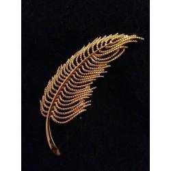 Monet - Broche dorée plume...