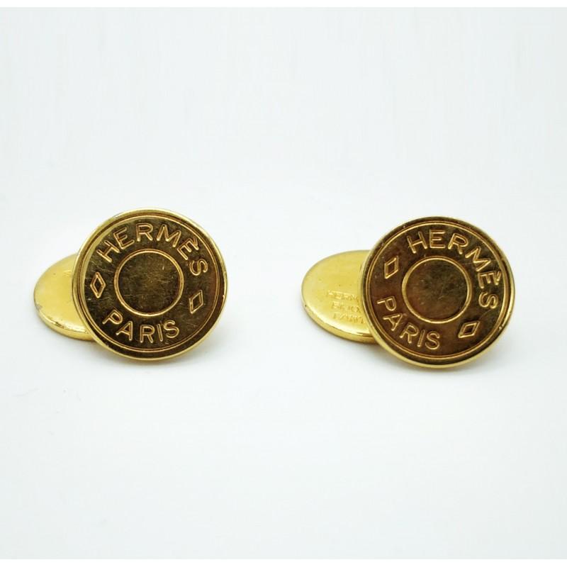Boutons de manchettes Hermès dorés