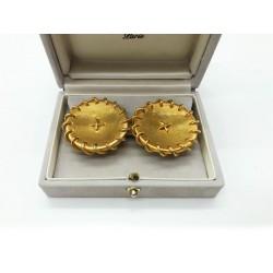 Boucles d'oreilles Hermès vintage boutons de sellerie dorées